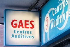 Gaes logo on Gaes shop. MADRID, SPAIN - MAY 3, 2019. Gaes logo on Gaes shop. Gaes is a spanish brand for auditory center stock photography