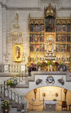MADRID, SPAIN - MAY 28, 2014: Golden altar in Santa Maria la Real de La Almudena cathedral, Madrid, Spain. Royalty Free Stock Photos