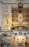 MADRID, SPAIN - MAY 28, 2014: Golden altar in Santa Maria la Real de La Almudena cathedral, Madrid, Spain. Royalty Free Stock Photos