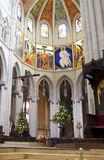 MADRID, SPAIN - MAY 28, 2014: Golden altar in Santa Maria la Real de La Almudena cathedral, Madrid, Spain. Stock Photography
