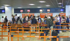 MADRID, SPAIN - MAY 28, 2014: Interior of Madrid airport, departure waiting aria Stock Photography