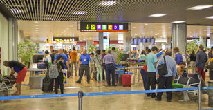 MADRID, SPAIN - MAY 28, 2014: Interior of Madrid airport, departure waiting aria Stock Photo