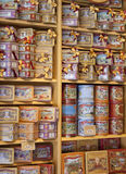 MADRID, SPAIN - MAY 28, 2014: Madrid city centre gift shop, Spanish sweets and biscuits Stock Images