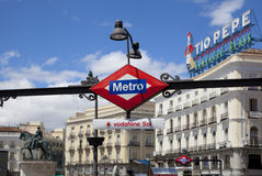 MADRID, SPAIN - MAY 28, 2014: Madrid city centre, Puerta del Sol square Royalty Free Stock Image