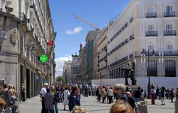 MADRID, SPAIN - MAY 28, 2014: Madrid city centre, Puerta del Sol square Stock Image