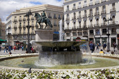 MADRID, SPAIN - MAY 28, 2014: Madrid city centre, Puerta del Sol square Royalty Free Stock Photos