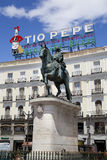 MADRID, SPAIN - MAY 28, 2014: Madrid city centre, Puerta del Sol square Royalty Free Stock Images