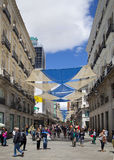 MADRID, SPAIN - MAY 28, 2014: Madrid city centre, Puerta del Sol square Stock Photography