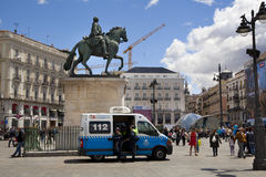 MADRID, SPAIN - MAY 28, 2014: Madrid city centre, Puerta del Sol square Royalty Free Stock Photo