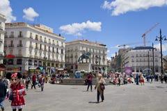 MADRID, SPAIN - MAY 28, 2014: Madrid city centre, Puerta del Sol square Stock Image