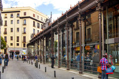 MADRID, SPAIN - MAY 28, 2014 Mercado San Miguel market, City centre, old street and buildings of Madrid Royalty Free Stock Image