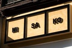 Misako  logo on Misako shop. MADRID, SPAIN - MAY 19, 2019. Misako  logo on Misako shop. Misako is a spanish bag maker company royalty free stock images