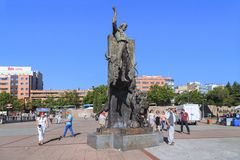 Monument Died Torero, Angel Was Born in Madrid. MADRID, SPAIN - MAY 24, 2017: This is the monument Died Torero, Angel Was Born next to the bullfighting arena Royalty Free Stock Photos