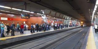 MADRID, SPAIN - MAY 28, 2014: People waiting train on platform, underground station Madrid Stock Photos