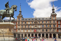 MADRID, SPAIN - MAY 28, 2014: Plaza Mayor and Statue of Philip III in front of his house Royalty Free Stock Photo