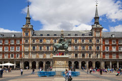 MADRID, SPAIN - MAY 28, 2014: Plaza Mayor and Statue of Philip III in front of his house Stock Image