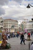MADRID, SPAIN - MAY 28, 2014: Plaza Mayor and tourist, Madrid city centre Stock Photos