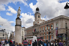 MADRID, SPAIN - MAY 28, 2014: Plaza Mayor and tourist, Madrid city centre Royalty Free Stock Photo