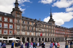 MADRID, SPAIN - MAY 28, 2014: Plaza Mayor and tourists Stock Images