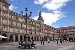MADRID, SPAIN - MAY 28, 2014: Plaza Mayor and tourists Stock Photo