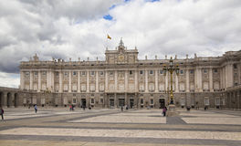 MADRID, SPAIN - MAY 28, 2014: The Royal Palace in Madrid, official residence of the Spanish Royal Family. MADRID, SPAIN - MAY 28, 2014: The Royal Palace of royalty free stock photo
