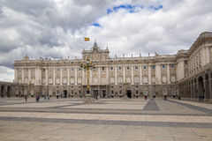 MADRID, SPAIN - MAY 28, 2014: The Royal Palace in Madrid, official residence of the Spanish Royal Family. MADRID, SPAIN - MAY 28, 2014: The Royal Palace of royalty free stock photography