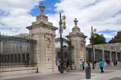MADRID, SPAIN - MAY 28, 2014: The Royal Palace in Madrid, official residence of the Spanish Royal Family. MADRID, SPAIN - MAY 28, 2014: The Royal Palace of stock photos