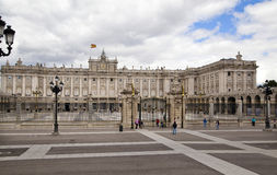 MADRID, SPAIN - MAY 28, 2014: The Royal Palace in Madrid, official residence of the Spanish Royal Family. MADRID, SPAIN - MAY 28, 2014: The Royal Palace of stock photo