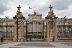 MADRID, SPAIN - MAY 28, 2014: The Royal Palace in Madrid, official residence of the Spanish Royal Family. MADRID, SPAIN - MAY 28, 2014: The Royal Palace of stock photography