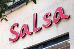Salsa logo on Salsa store. MADRID, SPAIN - MAY 5, 2019. Salsa logo on Salsa store. Salsa is a Portuguese company and brand of clothing stock images
