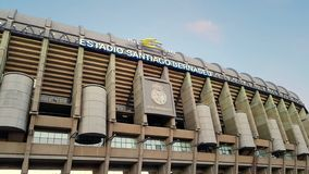 View of Santiago Bernabeu football stadium at sunset. MADRID, SPAIN - MAY 5: View of Santiago Bernabeu football stadium at sunset on May 5, 2019 in Madrid, Spain stock photography