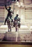 Madrid, Spain - monuments at Plaza de Espana. Famous fictional knight, Don Quixote and Sancho Pansa from Cervantes' story. Royalty Free Stock Images