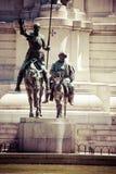 Madrid, Spain - monuments at Plaza de Espana. Famous fictional knight, Don Quixote and Sancho Pansa from Cervantes' story. Madrid, Spain - monuments at Plaza de Royalty Free Stock Images