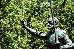Madrid, Spain - monuments at Plaza de Espana. Famous fictional knight, Don Quixote and Sancho Pansa from Cervantes' story. Madrid, Spain - monuments at Plaza de Stock Photos