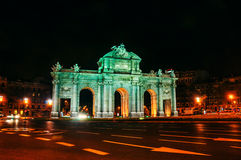 Madrid, Spain. Night view of The Puerta de Alcala at night Stock Image
