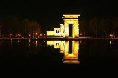 Madrid, Spain. Night view of Temple of Debod Stock Images