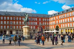 Crowded Mayor Plaza. Madrid, Spain Royalty Free Stock Images
