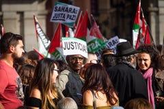 Sahara Protests at Madrid royalty free stock photo
