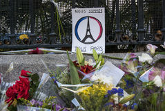 Madrid, Spain - November 15, 2015 - Flowers, candles and peace signs against terrorist attacks in Paris, in front of French Embass Stock Photography