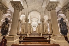 Interior of the crypt of famous touristic landmark Almudena Cathedral. Madrid, Spain - November 13, 2016: Interior of the crypt of famous touristic landmark stock photos