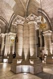 Interior of the crypt of famous touristic landmark Almudena Cathedral. Madrid, Spain - November 13, 2016: Interior of the crypt of famous touristic landmark stock photography