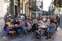 MADRID, SPAIN - November 11: One of the central streets, a small cafe on November 11, 2015 in Madrid, Spain Royalty Free Stock Photo
