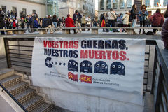Madrid, Spain - November 28, 2015 - Protest against Syrian war, IS terrorism and islamophobia in Europe, at Madrid City center Stock Photos