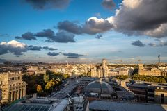 Skyline of Madrid from Circulo de Bellas Artes rooftop. Madrid, Spain - November 3, 2017:  Skyline of Madrid city centre from Circulo de Bellas Artes rooftop Royalty Free Stock Images
