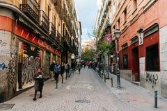 Street scene in Malasana district in Madrid Stock Photos