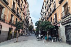 Street scene in Malasana district in Madrid Stock Photography