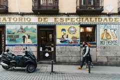 Street scene in Malasana district in Madrid royalty free stock images