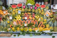 Madrid, Spain - October 7, 2017: Fruit Stand in San Miguel Market. A Colorful Display at a Fruit Stall in San Miguel Market in Madrid Spain stock photos