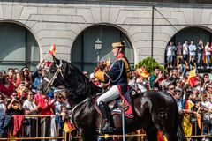 Guardia Civil cavalry marching in Spanish National Day Army Para. Madrid, Spain - October 12, 2017: Guardia Civil calvary marching in Spanish National Day Army Stock Image