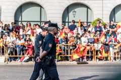 Police in the army parade for the National Day  of Spain Royalty Free Stock Photography